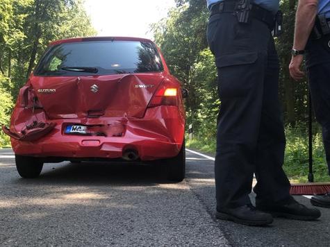 Auffahrunfall auf der Landesstraße 3078 zwischen Massenhausen und Bad Arolsen am 27. Juli 2019-