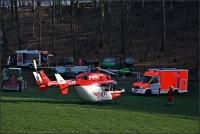 Der verletzte Traktorfahrer wurde mit dem Rettungshubschrauber ins Krankenhaus geflogen.