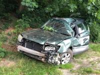 Dieser Subaru Forester wurde am 5. Juli 2020 mit wirtschaftlichem Totalschaden abgeschleppt - der Fahrer kam nach Kassel ins Klinikum.
