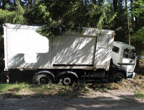 Dieser Lkw wurde aufgebrochen und entwendet - Zeugenhinweise bitte an die Polizeistation Frankenberg.