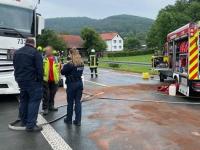 Hoher Sachschaden entstand am 15. Juni auf der Bundesstraße 252 bei Schmittlotheim im Landkreis Waldeck-Frankenberg.