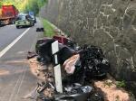 Die Bundesstraße 252 war nach einem Verkehrsunfall am 4. Juni  in beiden Richtungen gesperrt.