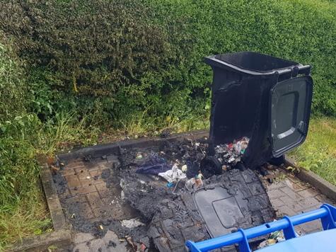 Brennende Mülltonnen mussten in Waldeck von der Freiwilligen Feuerwehr am 20. Mai abgelöscht werden.
