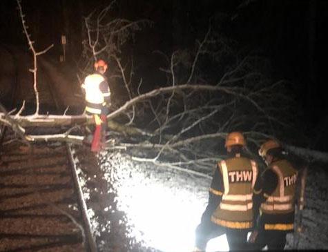 Einsatz THW auf dem Schienennetz der Kurhessenbahn am 10. und 11. März 2019