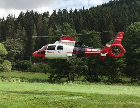 Einsatz des Rettungshubschraubers Christoph 90 bei Bromskirchen am 19. Juli 2019.