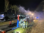 Auf der Bundesstraße 252 fing am Donnerstag (5. März) der Reifen eines LKWs Feuer.