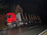 Auf glatter Fahrbahn rutsche am 8. Februar ein Holztransporter in den Straßengraben - der Sachschaden ist hoch