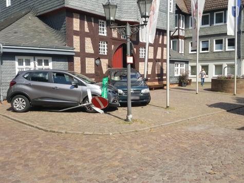 Am Obermarkt in Frankenberg ereignete sich am Samstag ein Unfall.