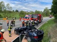 Schwerer Verkehrsunfall bei Adorf am 4. Juli 2020..