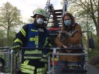 Die Briloner Feuerwehr rettete am Montag eine Katze von einem Baum.