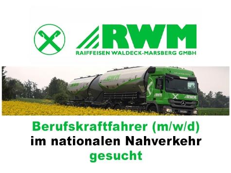 Die Raiffeisen Waldeck-Marsberg GmbH sucht Berufskraftfahrer (m/w/d).