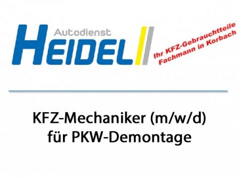 Der Autodienst Heidel sucht zum nächstmöglichen Zeitpunkt einen Mechaniker (m/w/d).