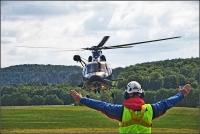 Die Fliegerstaffel deR Bundespolizei aus Fuldatal übte heute mit der Bergwacht für den Einsatz in Bad Wildungen.