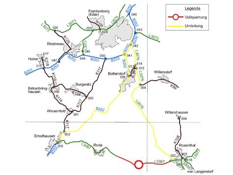 Zwischen Rosenthal und Roda werden Bauarbeiten durchgeführt.