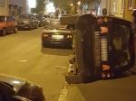 In Kassel wurde am Donnerstag ein Smart umgeworfen.