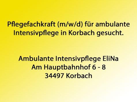 In Korbach werden Pflegefachkräfte gesucht.