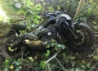 Diese Kawasaki war nach einem Unfall auf der K 67 nicht mehr fahrbereit - der Fahrer wurde mit dem Rettungshubschrauber Christoph 7 in eine Unfallklinik geflogen.