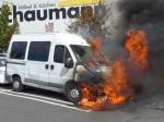 In Kassel brannte auf einem Parkplatz ein Wohnmobil.